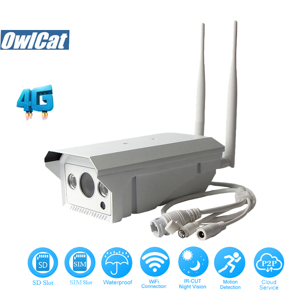OwlCat HD 1080P 960P 3G 4G SIM Card Camera Wifi Outdoor IR Remote View Video Security CCTV Camera 2.0MP Microphone SD Slot