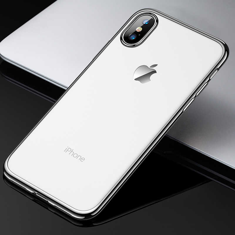 Ultra Slim Clear TPU Case For iPhone X XS Max XR Silver Bumper Frame  Transparent Back 4b6080d253a