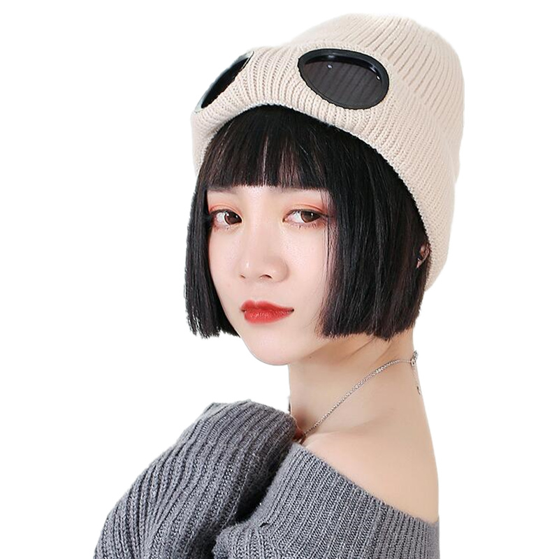 Women Caps Windproof Glasses Hat Wool Winter Fashion Gorros Cap Fixing  Stacking Knitted Hats Women Personality Ski Cap -in Skullies   Beanies from  Apparel ... 3f50d35ca7b5
