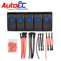 AutoEC 12V 16A Car Rocker Switch with Panel Wire Patrol Holder Housing ARB 5 Gang Car Truck Boat ON/OFF Switches Panel #LQ348