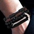 CCD de cuero de la nueva moda ancla pulseras y brazalete de los hombres 3/4 piezas 1 Set multicapa de pulsera Vintage hecho a mano pulsera Pulseira
