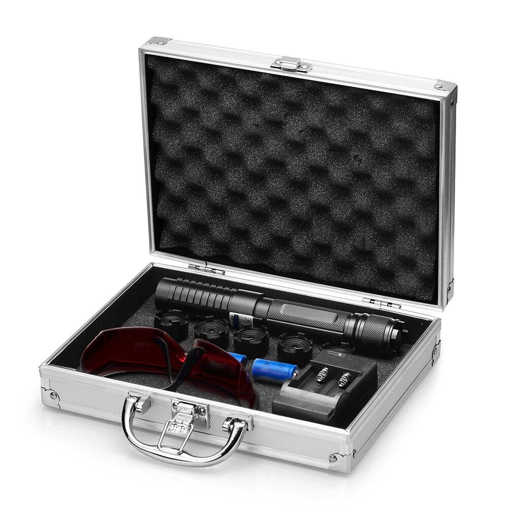 Pointeur laser bleu 450nm Haute Puissance stylo laser Mise Au Point Réglable Avec 5 étoiles Casquettes Boîte 16340 Batterie + chargeur + lunettes