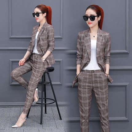 1a0c75e72df98 Spring and Autumn new women's fashion plaid suit suits female Korean  version of the nine pants temperament two-piece suit