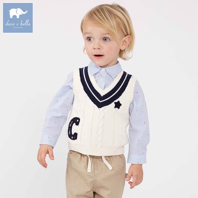 DB7633 dave bella spring infant baby boys sleeveless pullover sweater fashion clothes toddler children knitted vestDB7633 dave bella spring infant baby boys sleeveless pullover sweater fashion clothes toddler children knitted vest