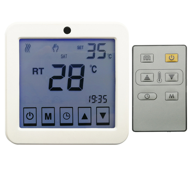 Remote control thermostat touch screen type with temperature sensor inside and probe sensor with 3 meters cable