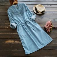 Lace Decoration Loose Waist Stand Collar Long Sleeve Denim Dress Mori Girl