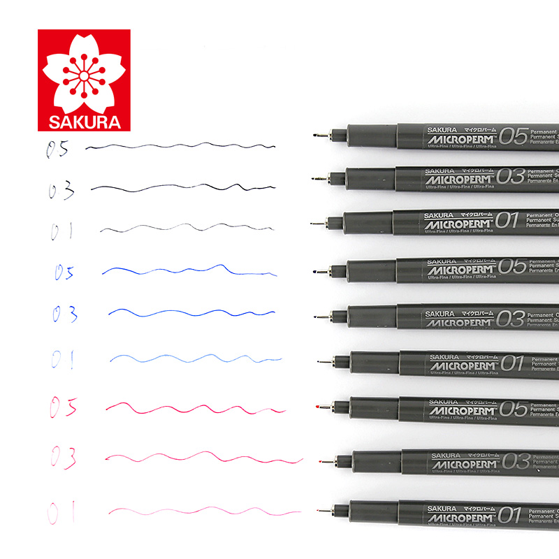 Sakura EOK 9pcs Micron Fine Line Pen Oil Based Ink 0.1/0.3/0.5mm Drawing Sketching Marker Quick-Drying Waterproof алмазный брусок двусторонний extra fine fine hardcoat™ 1200 mesh 9 micron 600 mesh 25 micron dmt w8ef h wb