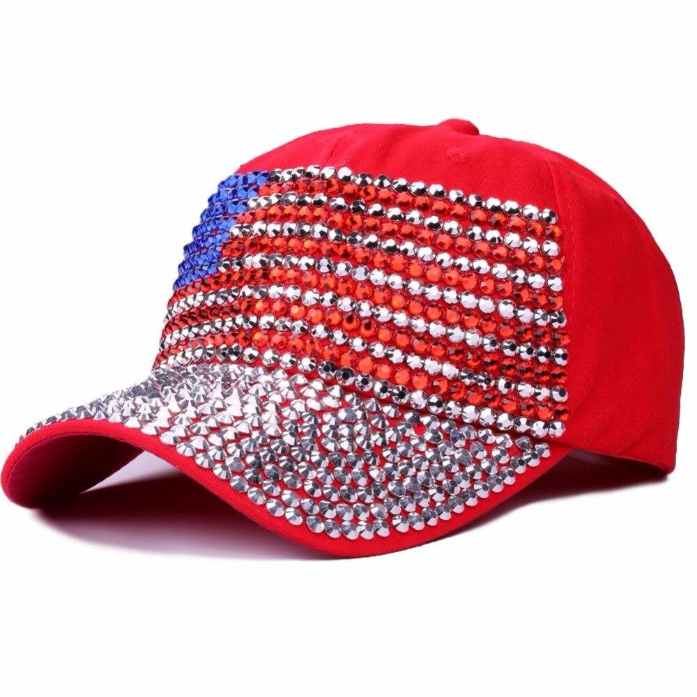 100% Baumwolle Baseball Cap Frauen Amerikanische Flagge Solide Hysteresenhut Kappe Für Mädchen Casquette Gorras Glas Bohrer Knochen Hip Hop Kappe