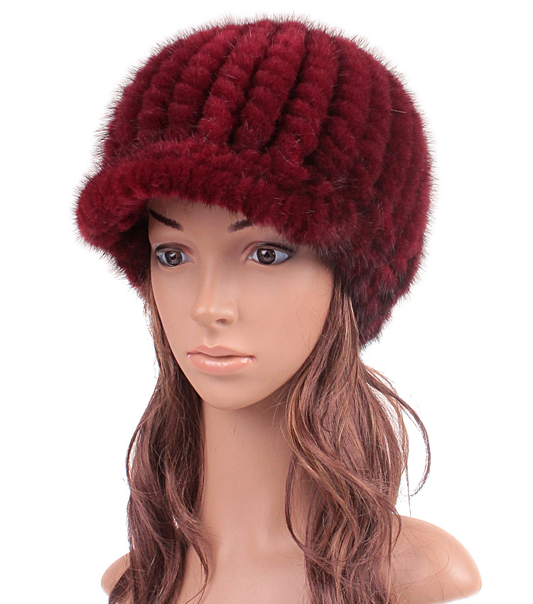 Casual Women Real Knitted Mink Fur Visors Cap Female Winter Warm Thick Millinery New Fashion Elegant Brim Hat Girl