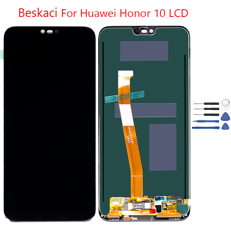 Beskaci Honor 10 Display For Huawei Honor 10 LCD Screen Display Touch Panel With Fingerprint Assembly Replacement Parts