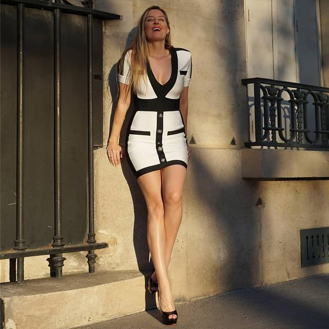 Seamyla New Women Bandage Dress Fashion Short Sleeve White Bodycon Celebrity Party Dresses Sexy V Neck Button Club Summer Dress 4