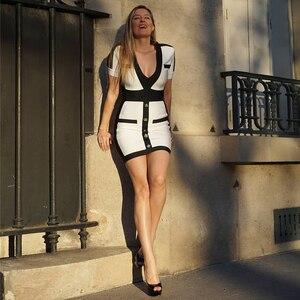 Image 4 - Seamyla 新女性包帯ドレスファッション半袖白ボディコンセレブパーティードレス 2020 セクシーなクラブの夏のドレス vestidos