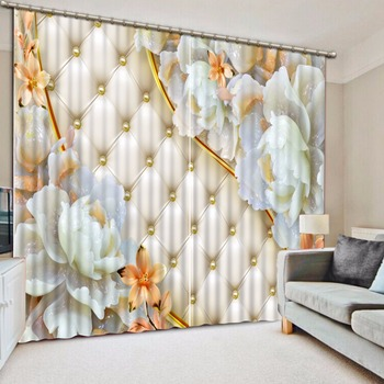 3d stereoscopic Emboss European style curtains for living room window curtain high quality