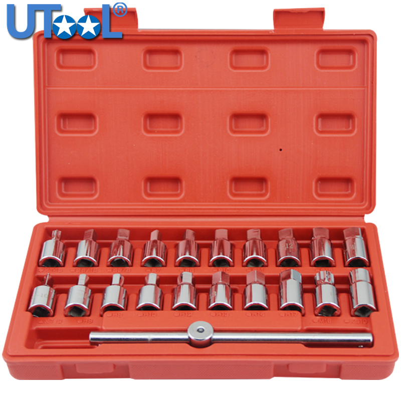 3/8 Dr M16 Oil Drain Sump Plug Socket Key Removal Tool Set 21PC/18PC/12PC