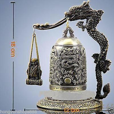 A Pair Bronze Brass Buddhism Dragon Ball Temple Bell Shelf Sculpture 2pcs Garden Decoration