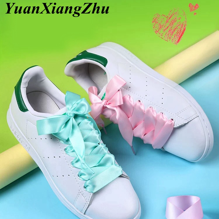 New Shoelaces Satin Silk Ribbon Shoelaces White Sneaker Shoes Lace  Canvas Shoe Laces 2cm Width 80cm/100cm/120cm Length Shoelace