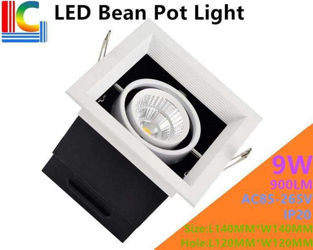 9W LED Bean Pot Light 900LM Rectangular LED Grille Lamp Highlighted AC85-265V LED Bean Gallbladder Lamp Home lighting 4PCs/Lot