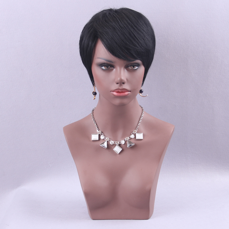 Element Pixie Cut Extra Short Wig 6 inch Synthetic Black Wigs Blend 50% Human Hair for Black Women With Side Bang Medium Cap