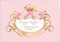 custom Royal Princess Flower Leaves Pink Gold Birthday background High quality Computer print party backdrops