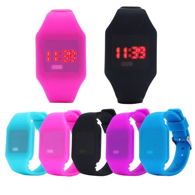 Practical Mens Womens Silicone LED Watch Sports Bracelet Digital Wrist Watch Kid