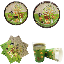 Jungle Safari Party Woodland Theme Birthday Festive Decorations Baby Shower Cartoon Disposable Tableware Sets