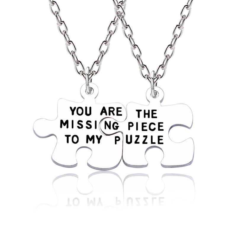 2pcs Trendy Best Friend Forever Necklace You Are The Missing Piece To My Puzzle Irregular Geometry Pendant Couple Jewelry Colar image