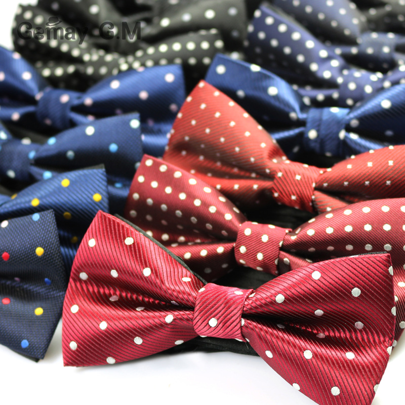 Hot Sale Polyester Men's Bowtie Neckwear For Wedding Party Fashion Casual Dots Man Bow Ties Cravat