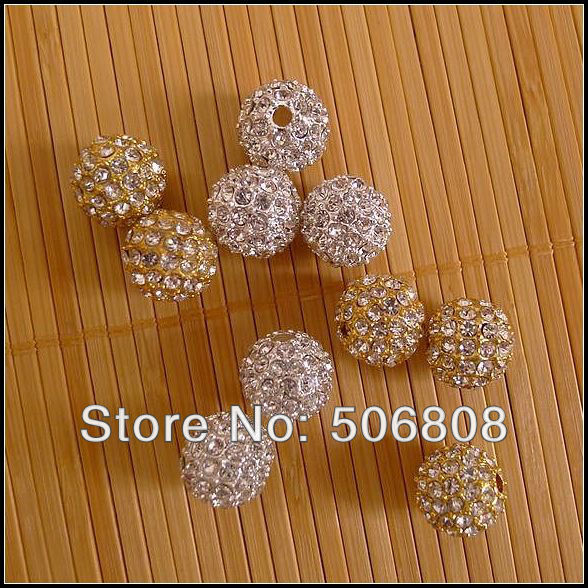 100PCS Wholesale 10mm Clear Rhinestone Metal Alloy Silver Gold color Disco Pave Crystal Balls Charm Loose