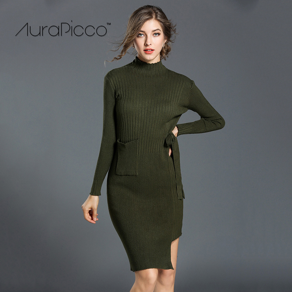 Turtleneck Irregular Knitted Midi Bodycon Dress Casual Long Sleeve Solid Color Sweater Dresses with Pockets 2017 New AuraPicco long sleeve bodycon dress with slits