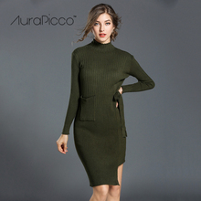 Turtleneck Irregular Knitted Midi Bodycon Dress Casual Long Sleeve Solid Color Sweater Dresses with Pockets 2017