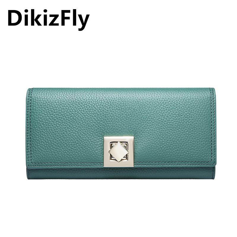 DikizFly New Brand Real Leather women wallets Solid Clutch Long womens wallets and purses Fashion card holder woman wallet 2017 leather wallet women luxury brand womens wallets and purses bag long clutch bag embroidered designer high quality card holder 5