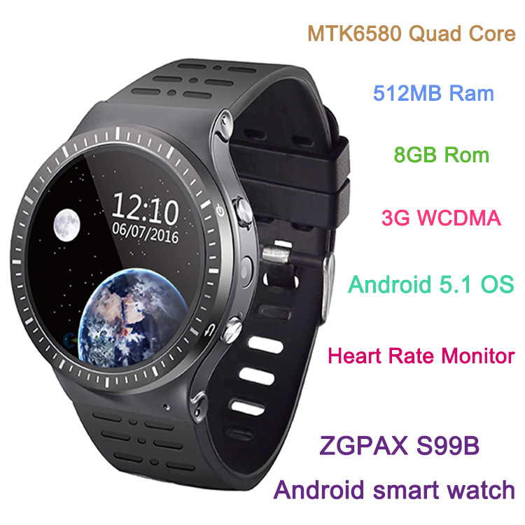 Original ZGPAX S99B Smart watch MTK6580 Quad Core 512MB Ram 8GB Rom 1.33