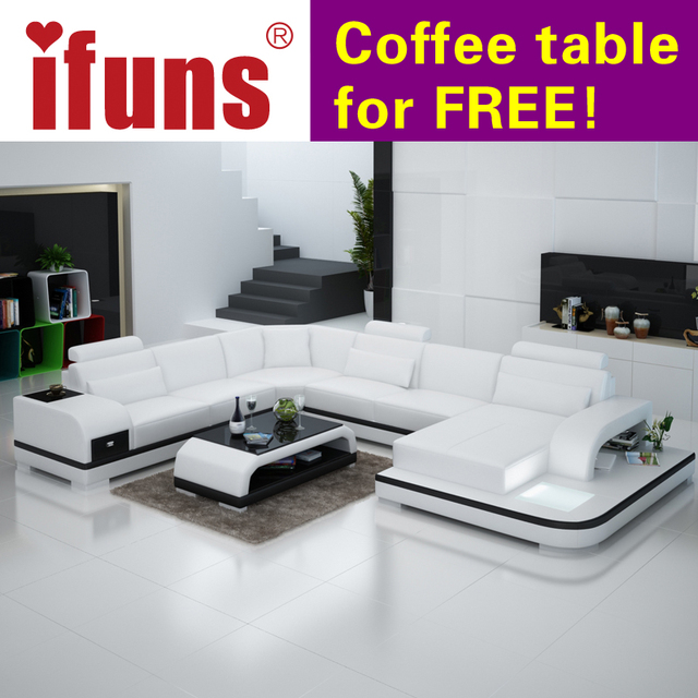 White Furniture Set Living Room Modern Singapore Ifuns Orange And Customized Color Italian Leather Sofa U Shaped Luxury Sectional Sets Fr