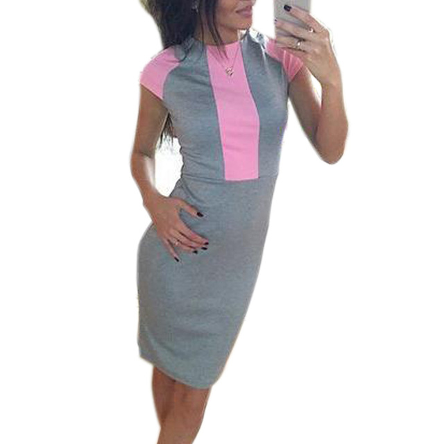 Sexy women 2018 summer dress fashion pink Japan block tight office dresses  ladies overalls Party bodycon zipper work dress J3271 1e1621f09