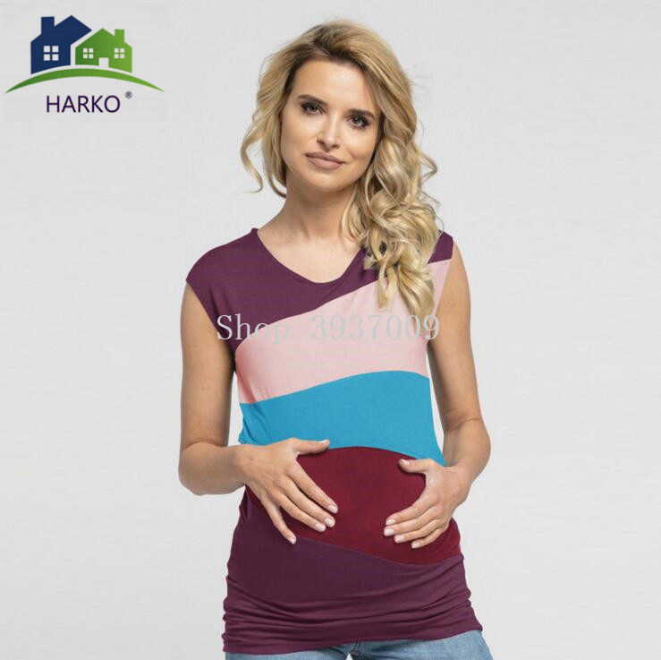 Maternity Blouse Breastfeeding Pregnant Women Blouse Casual Slim Fitted No Sleeveless patchwork Breast Feeding Nursing Shirt