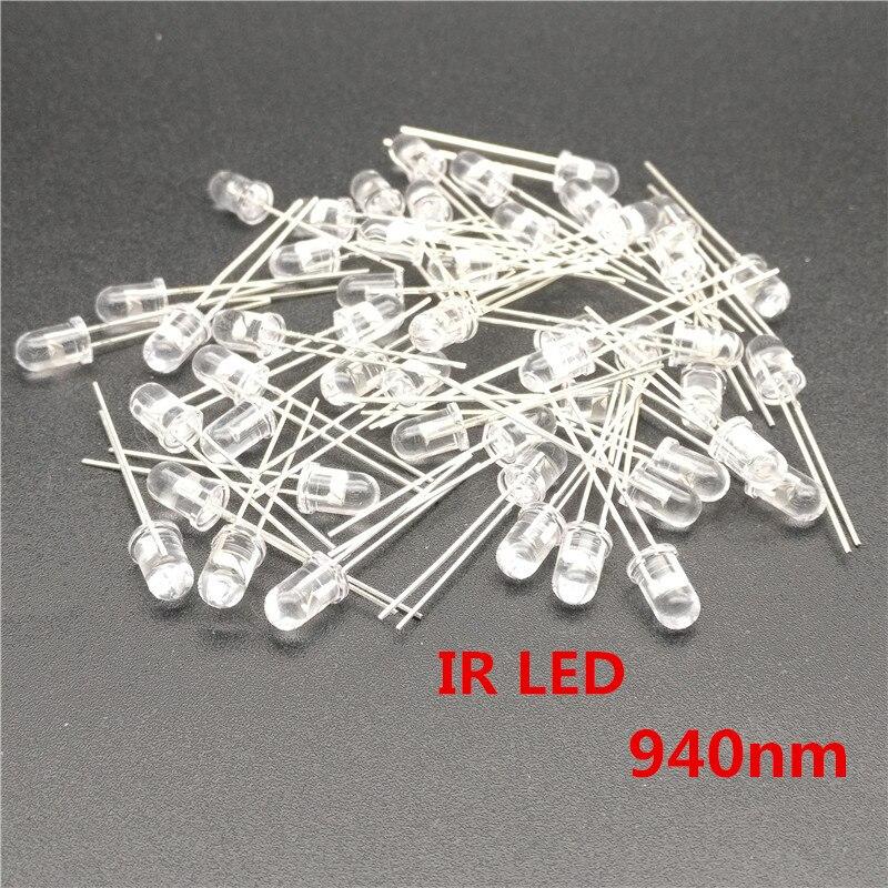 Free Shiping 100 Pcs 940 IR LED Infravermelho 5 Mm 940nm Output Infrared Emitters Phototransistor Optical Sensor Through Hole