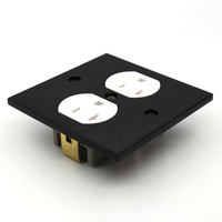 Free shipping one piece US-AC-power-Receptacles wall outlet audio grade copper made socket Duplex Plate 86mm*86mm wihte