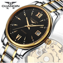 GUANQIN Reloj de Los Hombres Mecánicos de Lujo de Oro Reloj 100 m Impermeable Reloj Dial Grande Diseñador Hombre Reloj Relogio masculino reloj