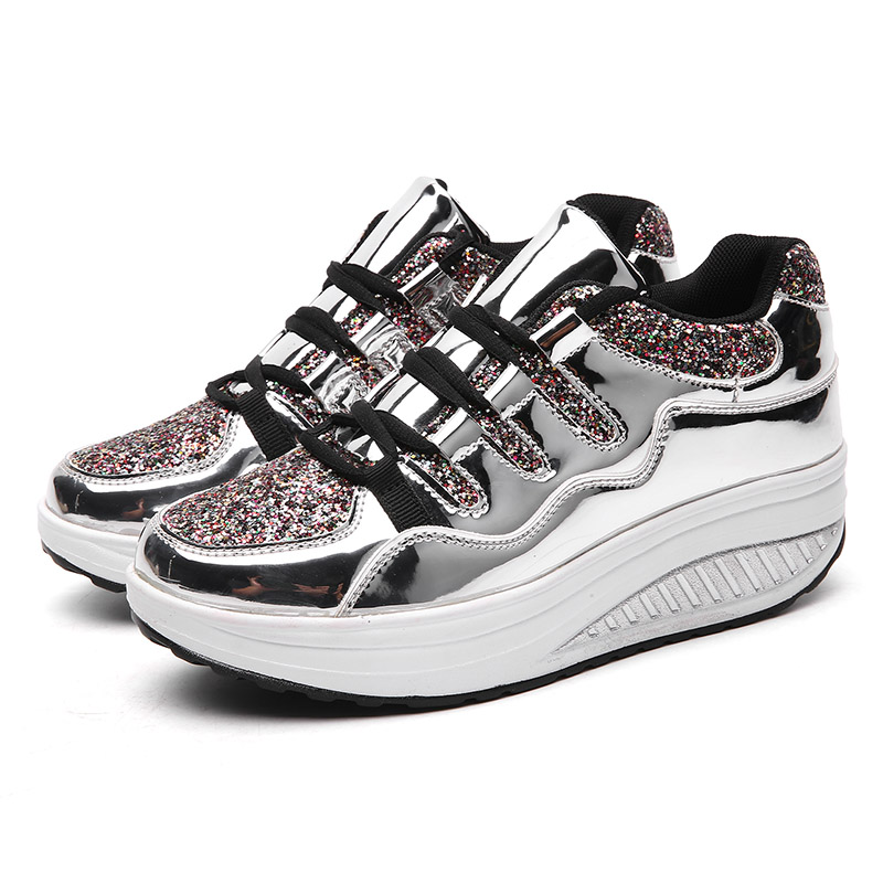 2019 Women Shake Shoes Bling Golden Silver Sequin Fashion Casual Shoes Platform Sneakers Fitness Shoes Women For Leisure