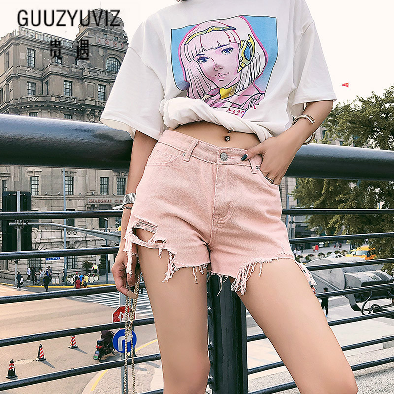 GUUZYUVIZ Shorts Mjuer Casual Chic Hole Tassle Denim   Jeans   Pink Short Pants 2019 Summer Loose Vintage Black White Woman Shorts