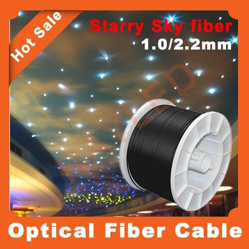 Бесплатная доставка, 500 м/лот, 1.0 мм Внутренняя/2.2 мм черный Jakect, пластик оптический кабель для звездное небо