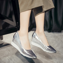 CHANGYUGE High Heel Shoes Women Platform Wedges Fashion  Basic Wedge Heels Pointed Toe Lady Sliver Pink Gold Size 34-39