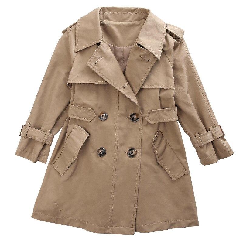 Girls   Trench   Coat Spring Autumn Medium Length Young Girls Fashion Coat Classic Khaki Baby Girls   Trench   Coat Double-breasted
