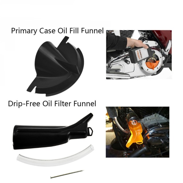 Primary Case Oil Fill +Oil Funnel+9″ Crankcase Fill Funnel For Harley Sportster 883 1200 48 XL XR Softail Dyna Touring Road King