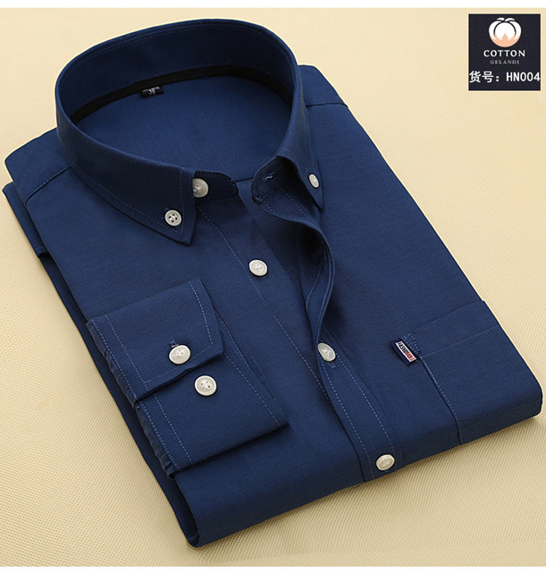 2017 Brand Men Shirt Free shipping features Bottom pocket washing trade cotton leisure men's Long-Sleeve Shirt