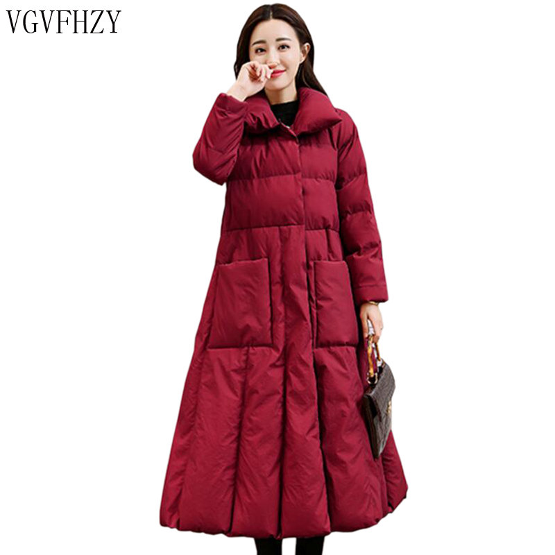 2018 Autumn Winter Women Down Jacket Coat plus long Fashion Thicken Warm Outerwear High Quality down Coats Female Parkas LY1078