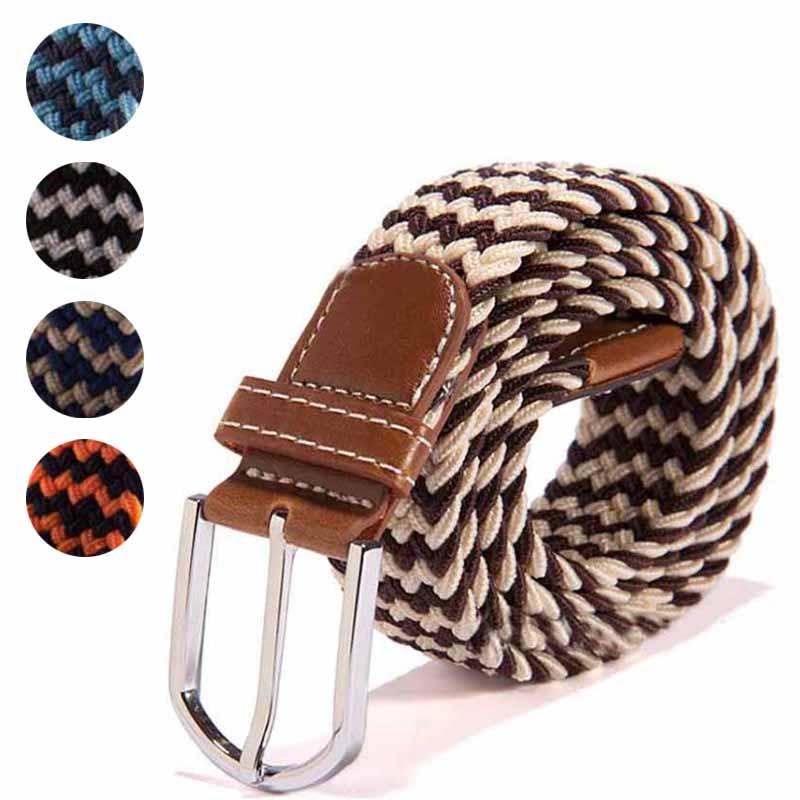 Fashion Men Elastic Stretch Waist Belt Braided Woven PU Leather Belt New KNG88