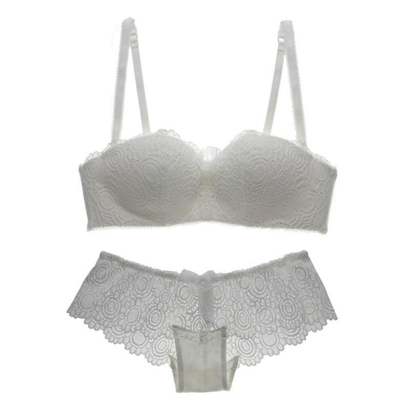 Women 39 s Adjustable Sexy Lace Bra Sets Wire Free Push up Padded Lingerie Underwear Black White Pink in Bra amp Brief Sets from Underwear amp Sleepwears