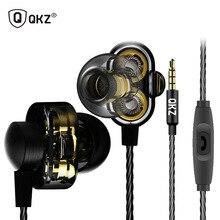 QKZ DM8 Earphones sport headset Mini Dual Driver Extra Bass Turbo Wide Sound gaming mp3 DJ Field Headset + storage bag