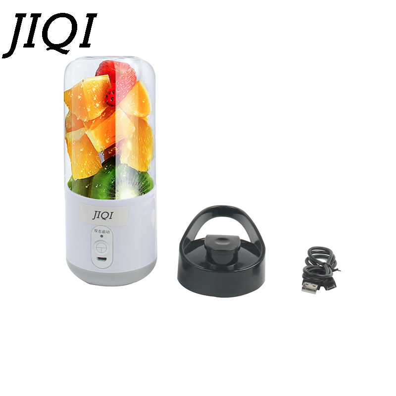 все цены на JIQI USB Rechargeable Fruit Juicer Portable Mini Orange Citrus Juice Extractor Cup Smoothie Maker Pocket Bottle Blender Squeezer онлайн